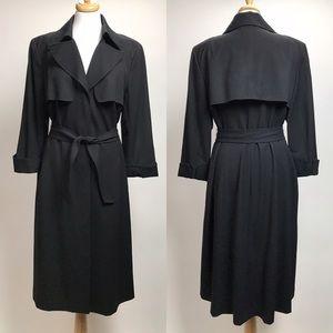 Lafayette 148 Trench Coat Wool Belted Long Jacket